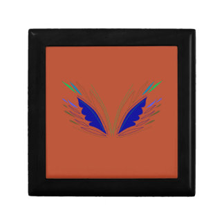 Blue wings on brown gift box