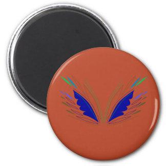 Blue wings on brown magnet