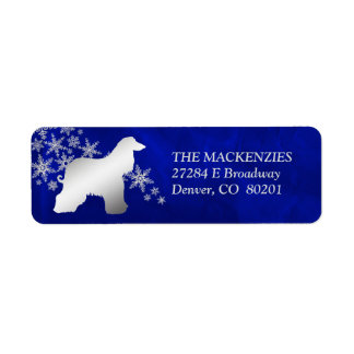 Blue Winter Afghan Hound Return Address