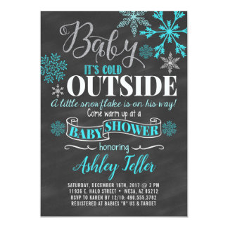 Blue Winter Baby Shower (Boy) Card