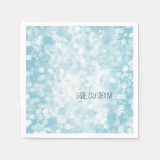 Blue Winter Bokeh Disposable Napkins