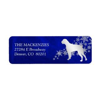 Blue Winter Boxer Dog Return Address