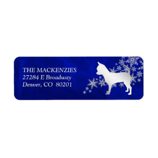 Blue Winter Chihuahua Dog Return Address