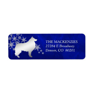 Blue Winter Collie Dog Return Address