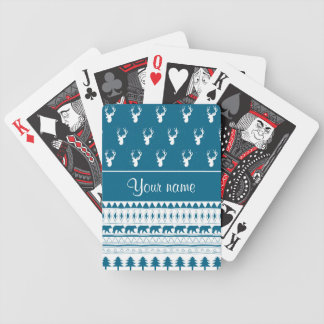 Blue Winter Deer Tribal Aztec Pattern Bicycle Playing Cards