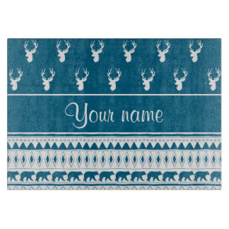 Blue Winter Deer Tribal Aztec Pattern Boards