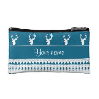Blue Winter Deer Tribal Aztec Pattern Cosmetic Bag