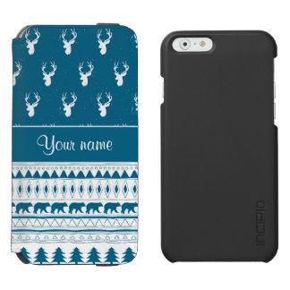 Blue Winter Deer Tribal Aztec Pattern Incipio Watson™ iPhone 6 Wallet Case