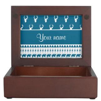 Blue Winter Deer Tribal Aztec Pattern Keepsake Box