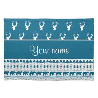 Blue Winter Deer Tribal Aztec Pattern Placemats