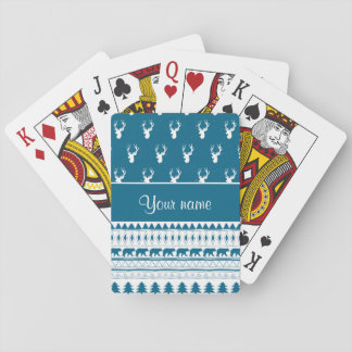 Blue Winter Deer Tribal Aztec Pattern Playing Cards