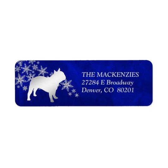 Blue Winter French Bulldog Return Address