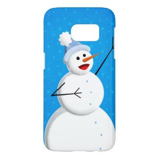 Blue Winter Happy Snowman Samsung Galaxy S7 Case