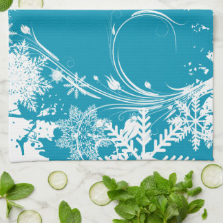 Blue Winter Meadow - Happy Holidays Kitchen Towel