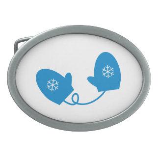 Blue Winter Mittens Belt Buckles