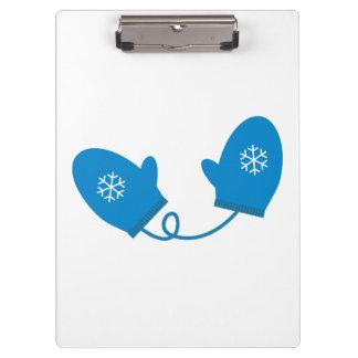 Blue Winter Mittens Clipboard