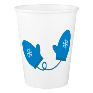 Blue Winter Mittens Paper Cup