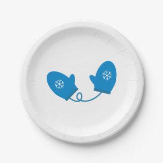 Blue Winter Mittens Paper Plates