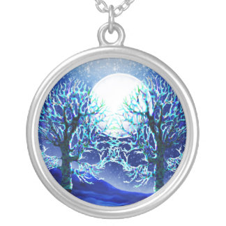 Blue Winter Moon Tree Necklace