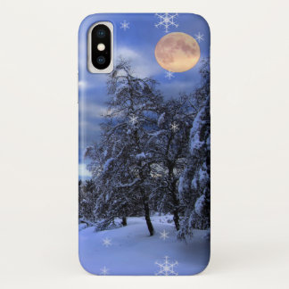 Blue winter night with moon and snowflakes iPhone x case
