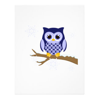 Blue winter owl letterhead design