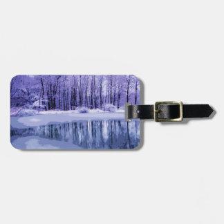 Blue Winter Pond Bag Tag