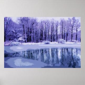 Blue Winter Pond Poster