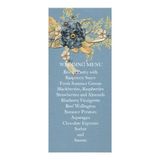 Blue Winter Ribbon Kiss Wedding Menu Invites