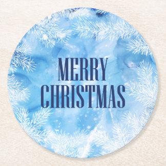 Blue Winter Round Paper Coaster