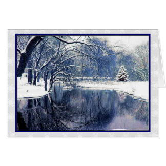Blue Winter Scene Christmas Greeting Card