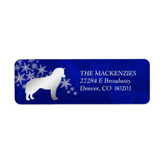 Blue Winter Siberian Husky Return Address