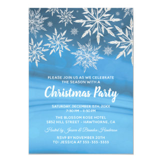 Blue Winter Snowflake Christmas Holiday Party Card