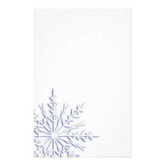Blue Winter Snowflake on White Customized Stationery