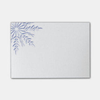 Blue Winter Snowflake on White Post-it Notes