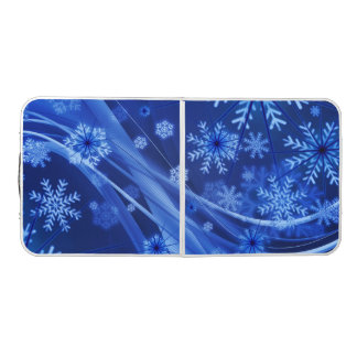 Blue Winter Snowflakes Christmas Beer Pong Table