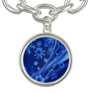 Blue Winter Snowflakes Christmas Bracelet