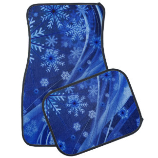 Blue Winter Snowflakes Christmas Car Floor Carpet