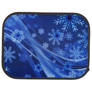 Blue Winter Snowflakes Christmas Car Mat