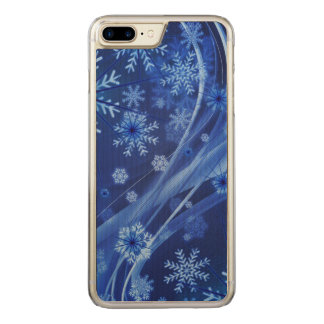 Blue Winter Snowflakes Christmas Carved iPhone 7 Plus Case