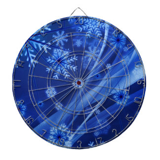 Blue Winter Snowflakes Christmas Dartboard With Darts