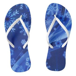 Blue Winter Snowflakes Christmas Flip Flops