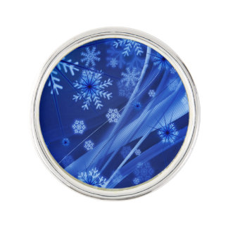 Blue Winter Snowflakes Christmas Lapel Pin