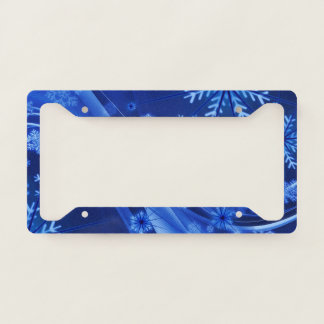 Blue Winter Snowflakes Christmas License Plate Frame