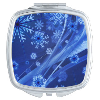 Blue Winter Snowflakes Christmas Mirror For Makeup