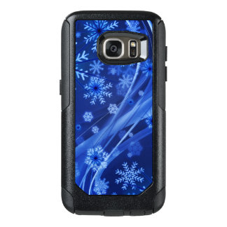 Blue Winter Snowflakes Christmas OtterBox Samsung Galaxy S7 Case