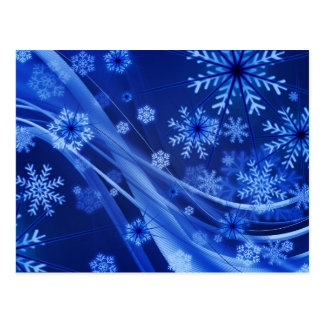 Blue Winter Snowflakes Christmas Postcard