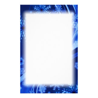 Blue Winter Snowflakes Christmas Stationery Paper