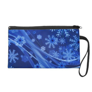 Blue Winter Snowflakes Christmas Wristlet