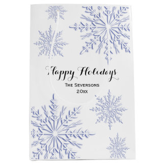 Blue Winter Snowflakes Happy Holidays Medium Gift Bag