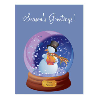 Blue Winter Snowglobe Custom Holiday Postcard